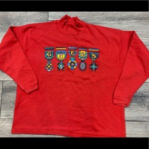 Vintage Guess Turtle Neck Medals Shirt Red 1987 L